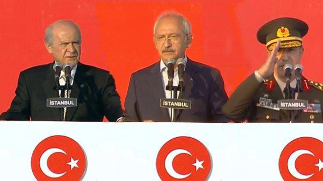 Yenikapı'da, Kılıçdaroğlu, Bahçeli ve Akar Mitinge Katılanlara Hitap Etti
