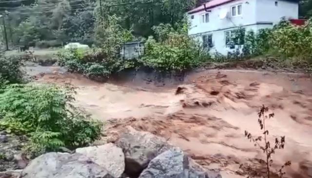 Giresun'da Etkili Olan Yağış, Sele Neden Oldu! Yüreklerin Ağza Geldiği Anlar Kamerada