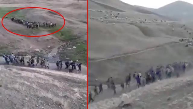 İran sınırında çekildiği iddia edilen video gündem oldu! Yüzlerce mülteci kalabalık gruplar halinde görüntülendi